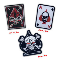 Biker jacket badges poker card Skull card Iron or Sew on Embroidered Patch