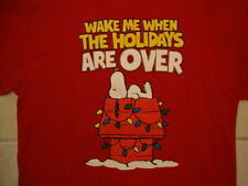 """Peanuts Snoopy """"Wake Me When the Holidays are Over"""" Red T Shirt XL"""