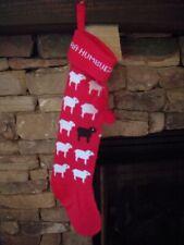 Baa Humbug Red Knit Christmas Stocking - 21 1/2 inches Long