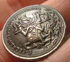 Vintage Antique Sewing Button Large Metal Detailed St George Slaying Dragon