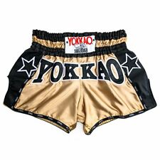 Yokkao Vintage Carbon Muay Thai Shorts Gold/Black, Kickboxing, Mma
