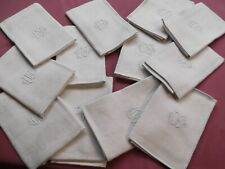 12 Serviettes de tableanciennes en lin damassé