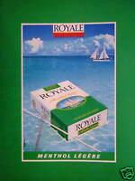PUBLICITÉ DE PRESSE 1980 CIGARETTES ROYALE MENTHOL LÉGÈRE - TABAC