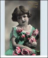 GEBURTSTAG 1930 Glückwunsch kl. Kind Mädchen Blumen Gratulation teilcoloriert