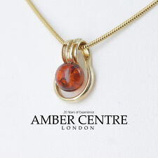 Italian Made Modern Elegant  Amber Pendant in 9ct Gold -GP0096  RRP£85!!!