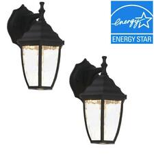 Hampton Bay Black Outdoor LED Wall Lantern (2-Pack)