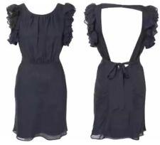 Kate Moss TopShop Azul Marino Seda Vintage 20s aleta volantes con cuentas con Espalda descubierta Vestido para 12 8 40