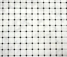 Casa de Muñecas Negro sobre Gris Efecto Mosaico Papel Miniatura 1:12 Suelo