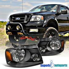 Black Euro Headlights Lamps 2004-2008 Ford F150/F-150 Pickup Replacement Pair