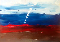 ABSTRACT Original Painting White Blue Red Landscape 8x10