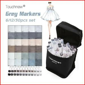 Touchnew 6/12/30 Colors Grayscale Art Marker Pen  Double-Ended Sketch Markers