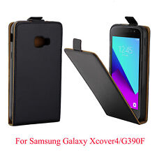 Retro Vertical Black Leather Slim Case Cover for Samsung Galaxy Xcover 4 G390F