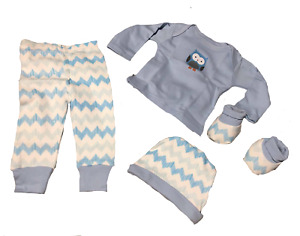 FOUR PIECE GIFT SET Outfit Clothing 100% COTTON BLUE NEW 0-6 Months