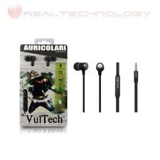 Auricolari Earphone Neri Super-Bass in Metallo Con Microfono Vultech® HD-02N