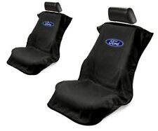 Pair 2 Black Ford Oval Emblem universal Seat Armour Towel Protector Seat Covers