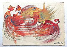 Zoltan Perlmutter Hungarian Israeli artist Mixed media drawing Cockfighting sign