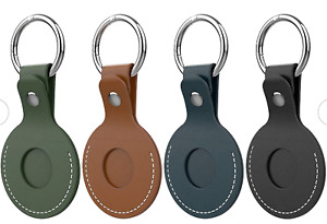 4X ORNARTO Apple AirTag Leather Case Protective Cover Key Ring Tracker Keychain