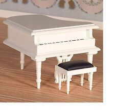 The Dolls House Emporium Classical White Grand Piano & Stool