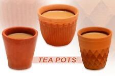 Reddish Brown Clay Tea Pots Set 100% natural clay 3 Different Designs 80ml