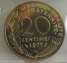 20 centimes marianne 1977 : FDC : pièce de monnaie française