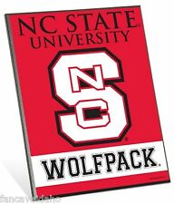 """North Carolina State Wolfpack Logo Premium 8"""" x 10"""" Solid Wood Easel Sign"""