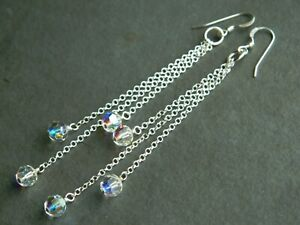 Alex Polizzi Style Long Earrings ~ Vintage Sparkling AB Crystal, Sterling Silver