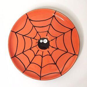 """Halloween Round Spider Web 11"""" Serving Platter Dish Orange Black Raised Web NEW"""