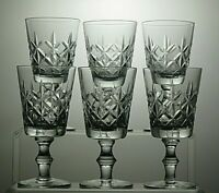 "LEAD CRYSTAL CUT GLASS 6 Oz CLARET WINE GLASSES SET OF 6 - 5 3/4"" TALL"