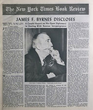 JAMES BYRNES SPEAKING FRANKLY RESTON 1947 October 19 Times Book Review