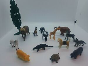 """Plastic Animal Figurines Toy Horses Dogs 2"""" To 4"""" Lot"""