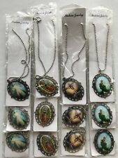 Jesus Christian Glass Pendant Chain Necklace Jewelry Lot of 12