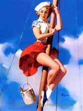 "Pretty Sailor Girl Paints Mast 8.5x11"" Photo Print Gil Elvgren Pinup Skirt Swirl"