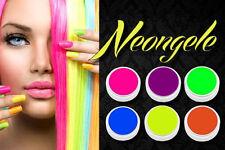 Neon UV Gele Set mit 6 verschiedenen Neon Gelen sehr leuchtende Farben je 5ml