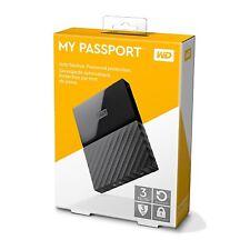 WD 3TB Black My Passport  Portable External Hard Drive - USB 3.0 - WDBYFT0030BBK
