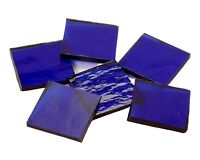 """500 Cobalt Blue Cathedral RR 1/2"""" Square Hand Cut Stained Glass Mosaic Tiles"""