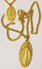 pendentif bijou vintage médaille religieuse saint double face couleur or 5270
