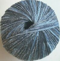 Laines Du Nord EROS #1 Blue Denim Light Medium Dark Skinny Ribbon Yarn Skein