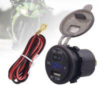 Motorcycle ATV Handlebar Mount USB Port Phone Charger LED Voltmeter Universal
