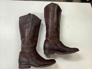 Frye 15289 Women's 7 B Melissa Button Tall Cognac Leather Riding Fashion BOOTS