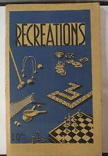 Livret ancien: Récréation, jeux de dames, de cartes, le zanzi, ping-pong etc.