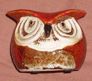 "Vintage 1970's/80's 3 1/2"" Owl Ceramic Votive Holder"