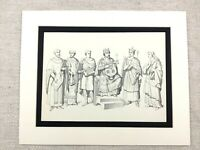 Costume Stampa Medievale Francese San Germain Deacon Monarch King Nobility Abito