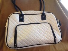 soft sided white dog carrier with black trim, med.