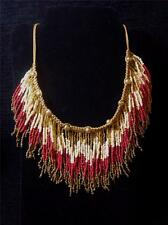 NWT - Charming Charlie STATEMENT NECKLACE - Gold/Tan/Red/Bronze - Rodeo FRINGE