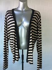 SIZE 20 DOROTHY PERKINS BLACK BEIGE STRIPE DRAPE CARDIGAN TOP SPRING HOLIDAY