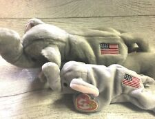Righty Elephant 4th/3rd Gen 1996 PVC Retired Beanie Baby Collectible & Buddy Lot