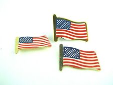 """New listing (3) Metal U.S. Flag Lapel Pins """"United States Flag"""" 2 safety pin back 1 pin back"""