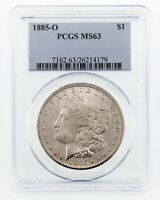 1885-O $1 Silver Morgan Dollar Graded by PCGS as MS-63