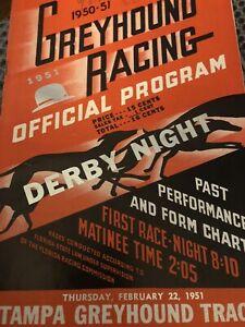1950-51 Tampa Greyhound Program Derby Night