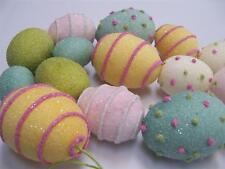 """NIP 48"""" Hand Painted faux SUGARED Iced Candy Paper Mache' EASTER EGG Garland"""